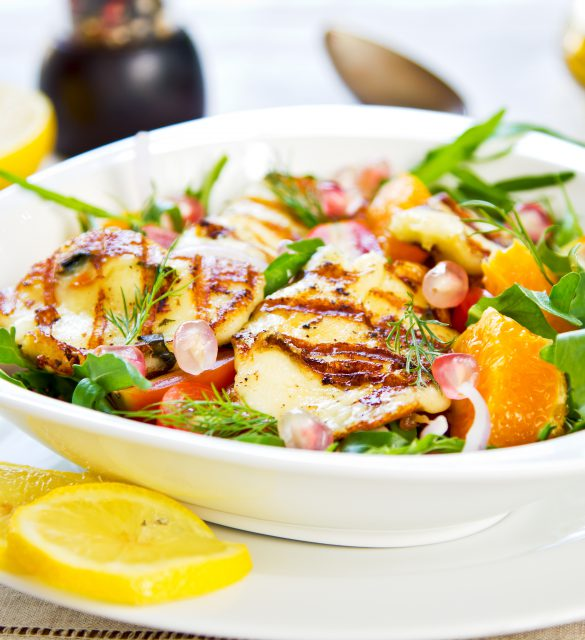 Grilled Halloumi with Pomegranate,Orange and Rocket salad