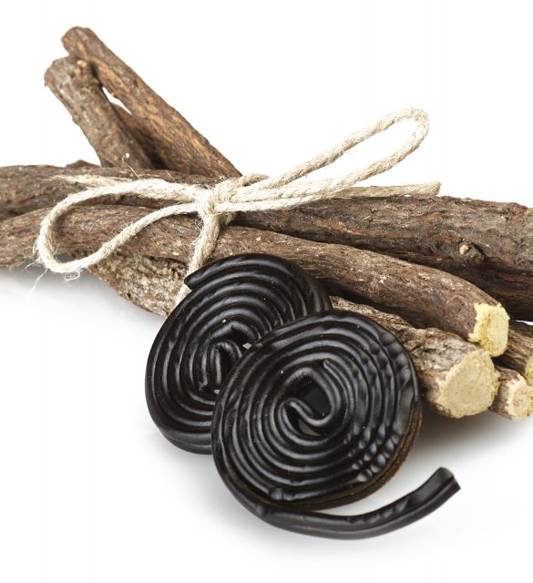 Licorice roots and licorice black on the white