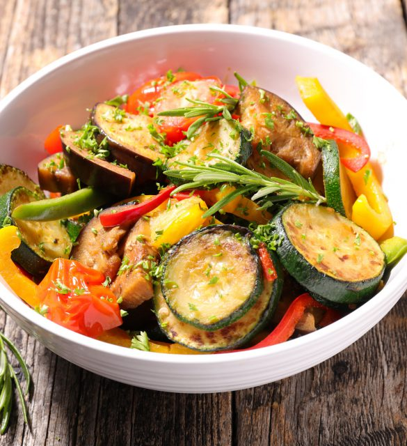 ratatouille,fried vegetables and herbs