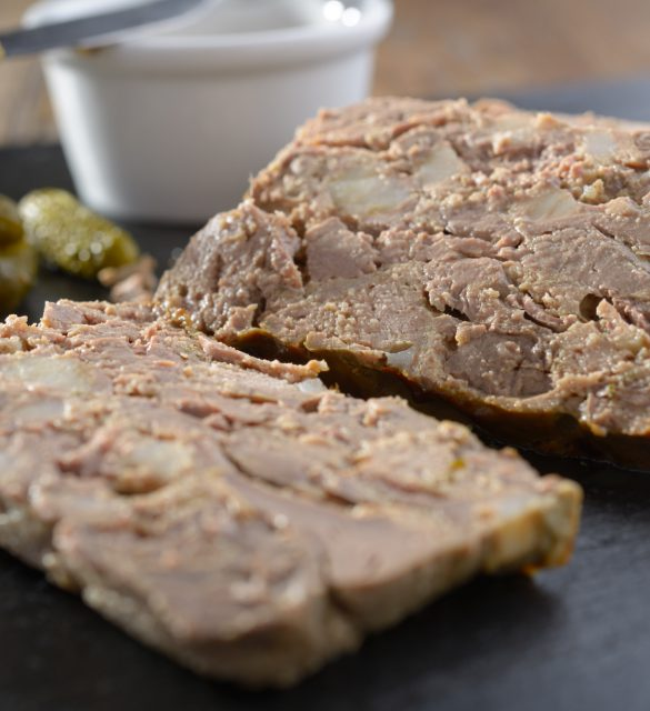 Rabbit liver terrine with pickles and mustard
