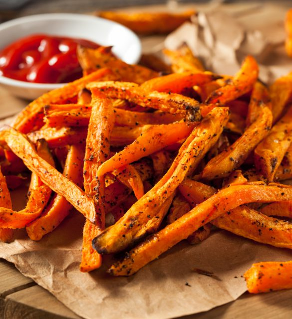 Healthy Homemade Baked Sweet Potato Fries with Ketchup
