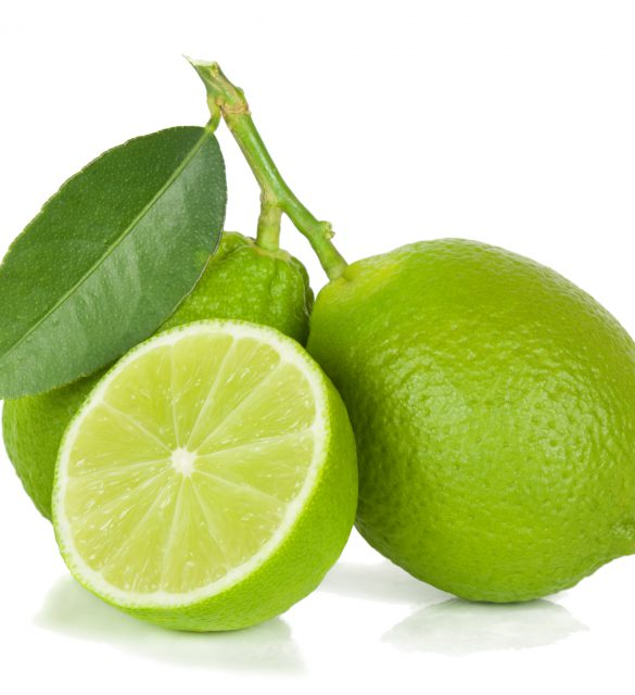 Two limes with section isolated on a white background