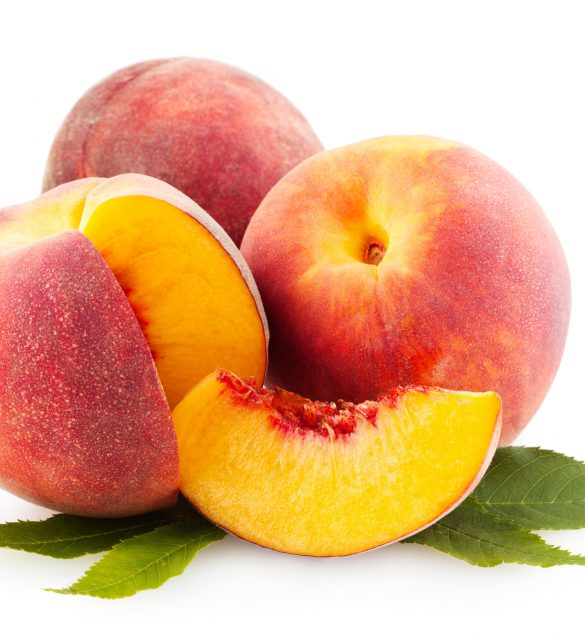Beautiful peach isolated on white background as design element