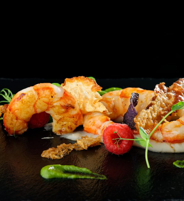 Fine dining appetizer with shrimps