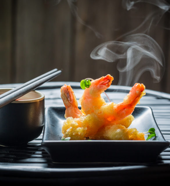 Yummy shrimp in tempura with red sauce