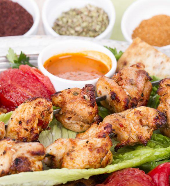 Turkish and Arabic Traditional Skewer Chicken Kebab